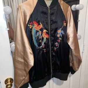 satin pink + black chinese inspired bomber jacket